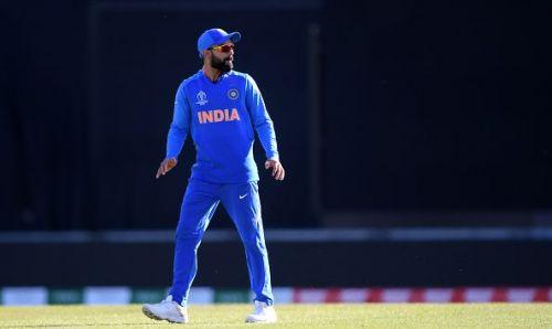 Virat Kohli in action against Afghanistan on Saturday.