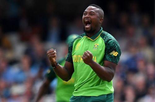 Phehlukwayo celebrates the fall of a wicket