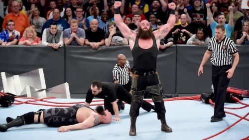 The Monster Among Men stood triumphant after breaking the ring on RAW in 2017.
