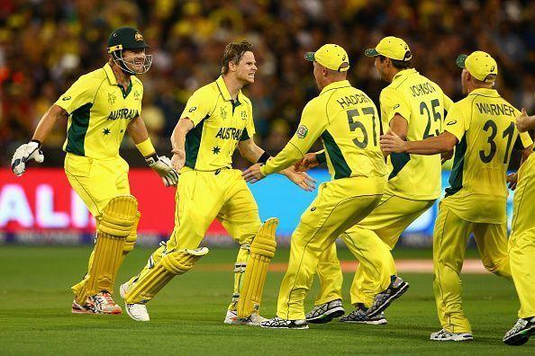 Australia celebrating World Cup 2015 win