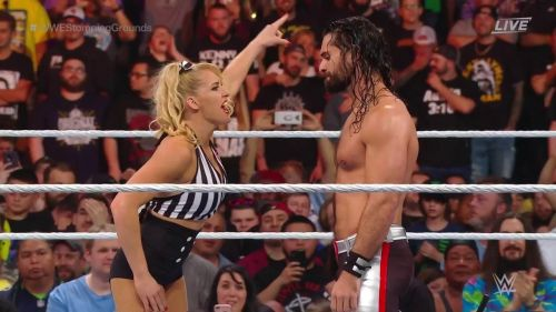 Lacey Evans was the special guest referee chosen by Baron Corbin in his match against Seth Rollins