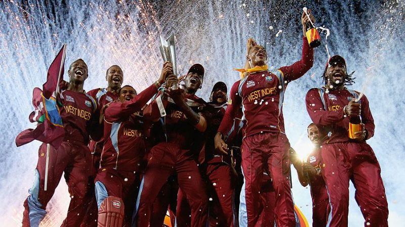 The Windies celebrating the 2016 T20 World Cup win.