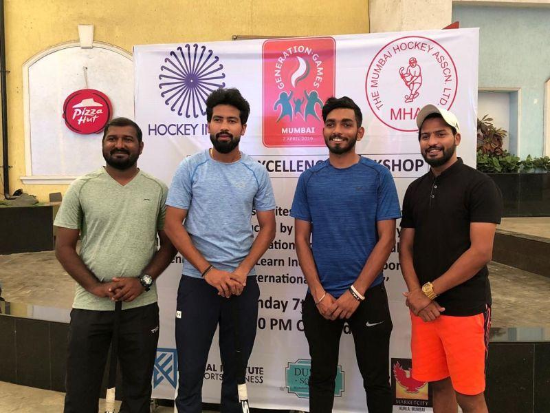 Hockey India and Mumbai Hockey Association Coaches along with 2016 Rio Olympian, Devinder Walmiki and Indian National Hockey veteran Yuvraj Walmiki.
