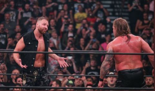Jon Moxley and Chris Jericho at Double or Nothing