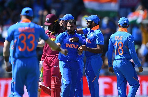 Image result for shami  4 wickets windies