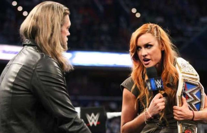 Edge and Becky Lynch on Smackdown in 2018.