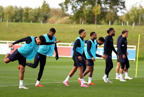 Jordan Sancho (far left) trains with the England squad