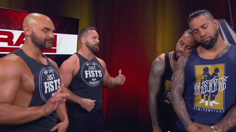 The Revival (left) with The Usos (right)