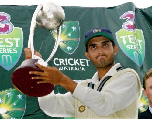 Ganguly with the Border-Gavaskar Trophy