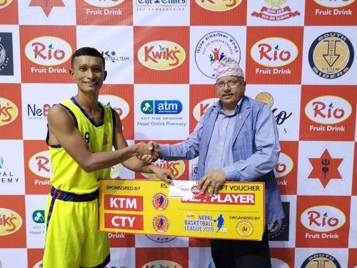 Bikash Gurung (L) of Nepal Police Club was adjudged Man of the Match.
