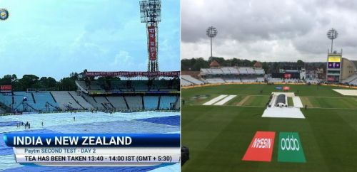 The covers at Eden Gardens (L) and Trent Bridge (R)