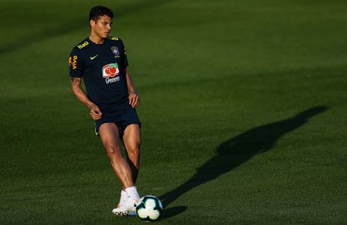 Thiago Silva, 34, pictured in training with Brazil ahead of this summer's Copa America tournament