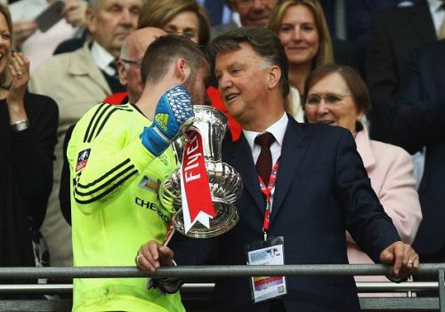 Van Gaal after winning the 2015-16 FA Cup with Manchester United