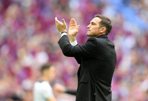 Lampard applauds the Derby faithful after their frustrating playoff final defeat by Aston Villa at Wembley