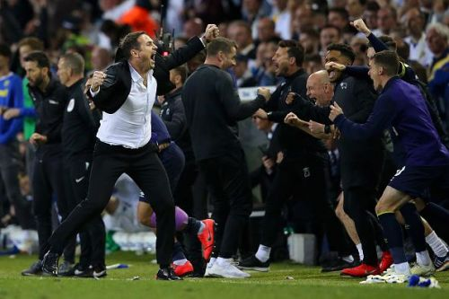 Lampard celebrates after his Derby side overcame a first leg deficit to beat Leeds in their playoff semi-final