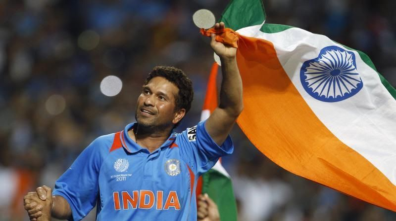 Sachin Tendulkar thanking the fans after winning the 2011 ICC World Cup