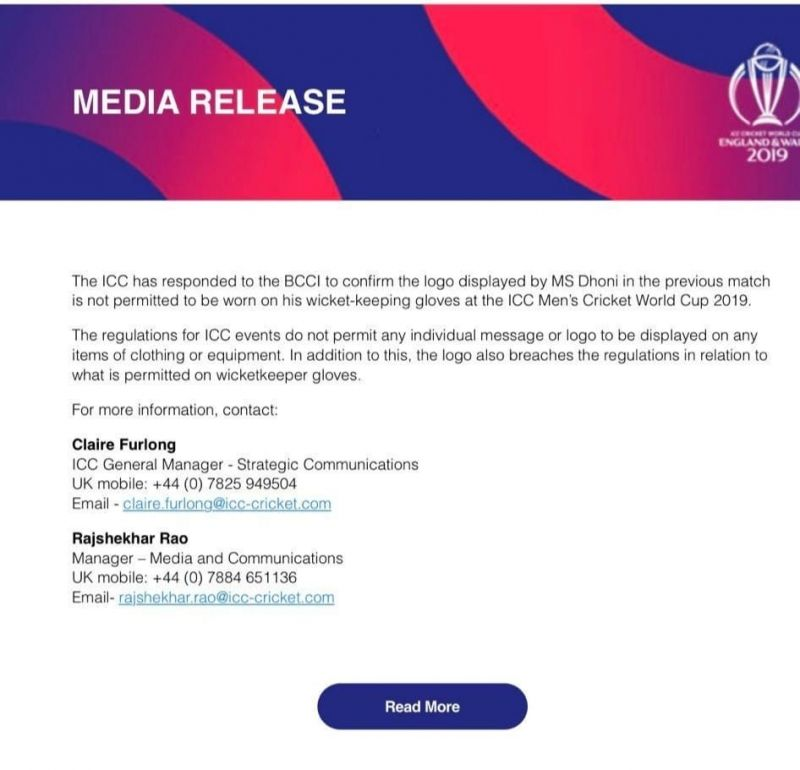 The official media release from ICC