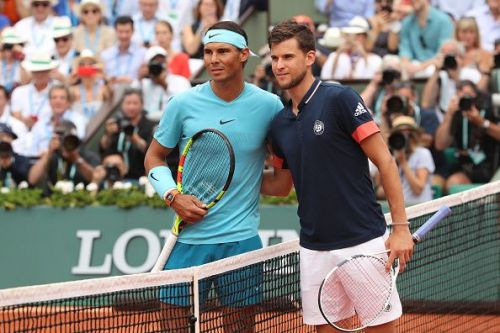 Rafael Nadal(L) and Dominic Thiem