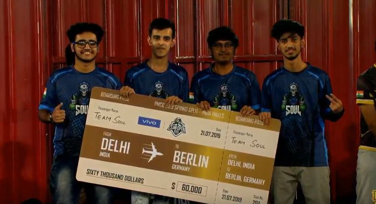 SouL after winning In PMCO Spring Split 2019 India Finals