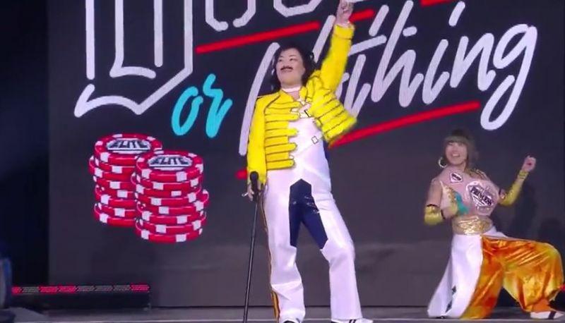 Emi Sakura dressed up as Freddie Mercury for the show!