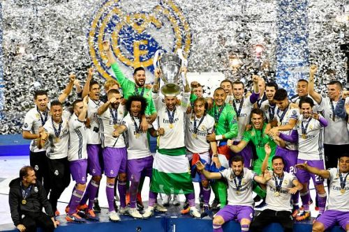 Real Madrid lifting their 12th Champions league title in Cardiff