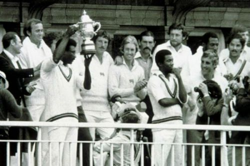 Clive Llyod with the 1975 World Cup trophy