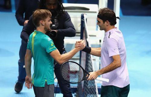David Goffin (L) and Roger Federer