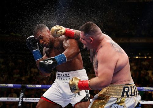 Andy Ruiz Jr. lands a blow on Anthony Joshua