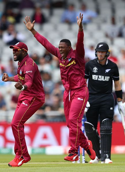 Sheldon Cottrell celebrates a wicket against New Zealand