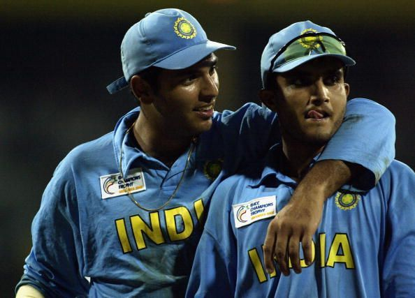 Yuvraj Singh and Sourav Ganguly of India celebrate victory in the 2002 edition of Champions trophy