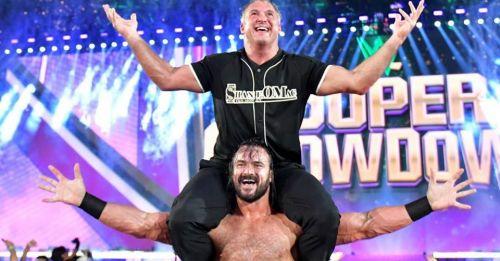 Shane-O-Mac celebrates his win over Roman Reigns at Super ShowDown