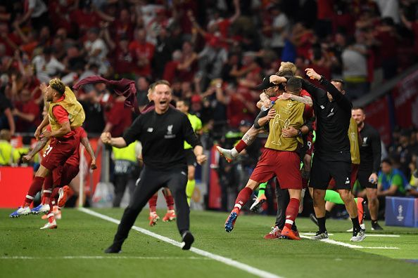 Liverpool score two goals to win the UEFA Champions League.