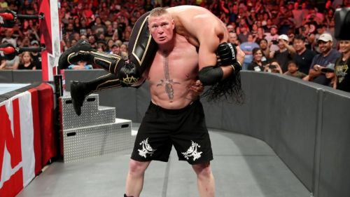 Brock Lesnar viciously assaulted Seth Rollins despite not cashing-in his MITB Contract