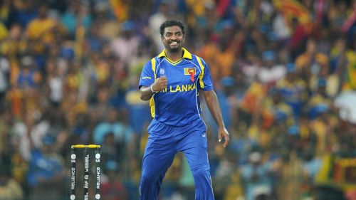Muttiah Muralitharan after taking a wicket in the 2011 World Cup