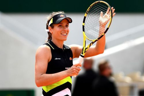 Konta celebrates after her latest win, taking her into the French Open semi-finals