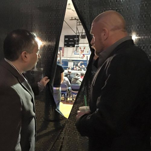 Triple H backstage at an indie event