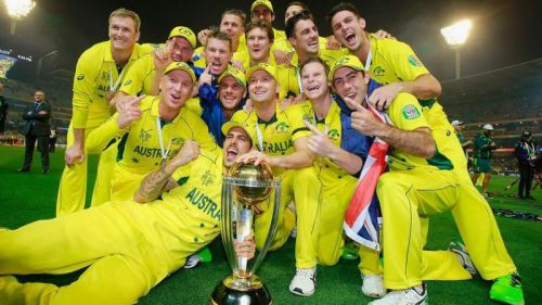 George Bailey and the Australian team posing with the World Cup trophy
