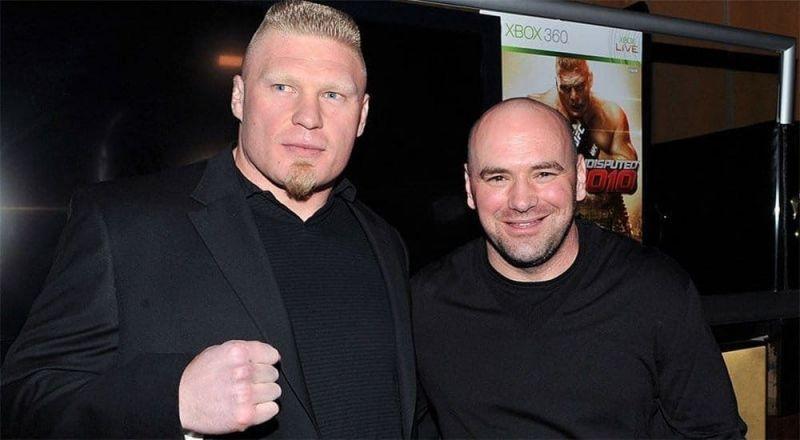 UFC प्रेजिडेंट डैना वाइट के साथ ब्रॉक लैसनर