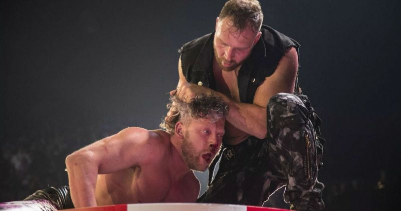 Jon Moxley assaulting Kenny Omega at DoN