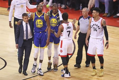 Kevin Durant went down with the injury during Game 5 of the NBA Finals