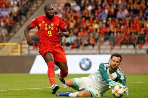 Romelu Lukaku scoring for Belgium against Scotland (Source: Reuters)