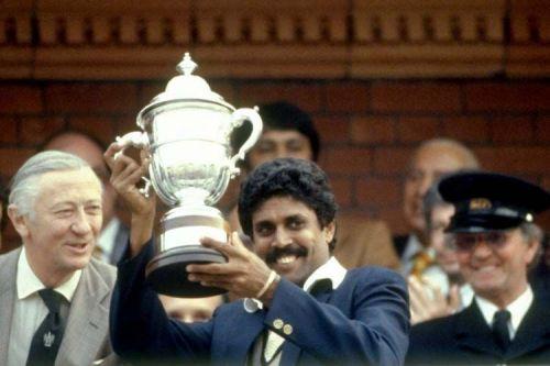 Indian skipper Kapil Dev lifts the 1983 World Cup.