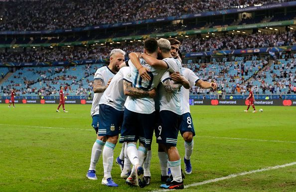 Argentina rejoice after clinching a 2-0 win over Qatar