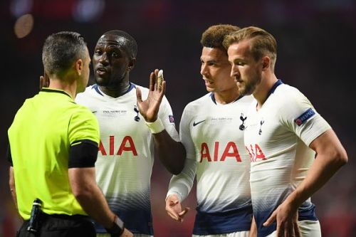 Sissoko remonstrates with the referee during a frustrating evening for Tottenham