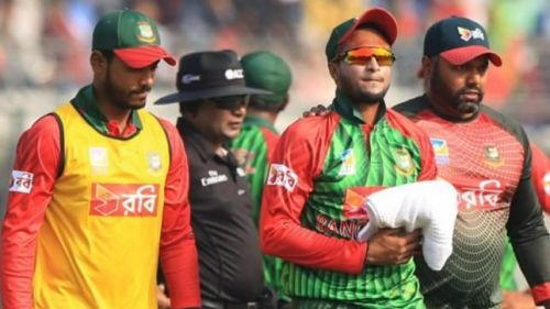 Shakib batted with an injured finger in the match against England
