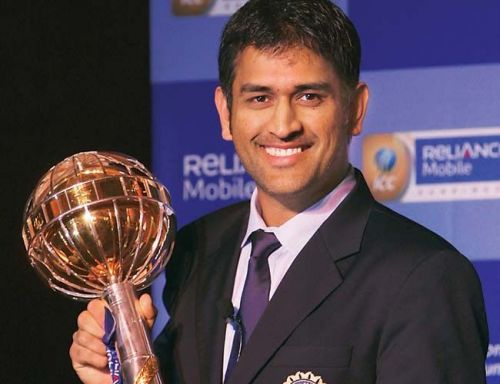 MS Dhoni with the Test mace