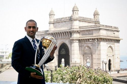 Dhoni with the 2011 CWC.
