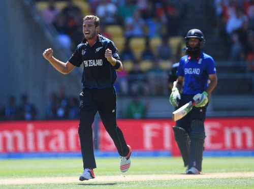 Tim Southee celebrates the fall of a wicket