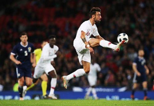 Bruno Fernandes in action for Portugal against Scotland