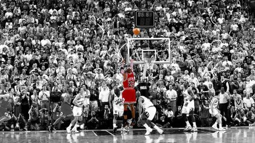 Michael Jordan pulls up for the shot